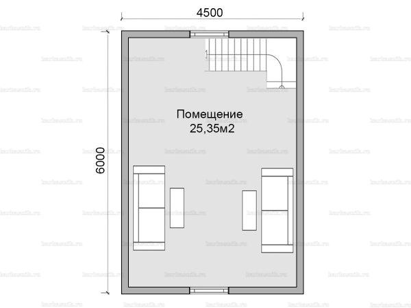План второго этажа дома с мансардой 7.5х6