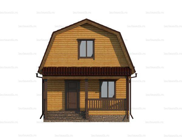 Проект деревянного коттеджа 7.5х6 из бруса для постоянного проживания зимой