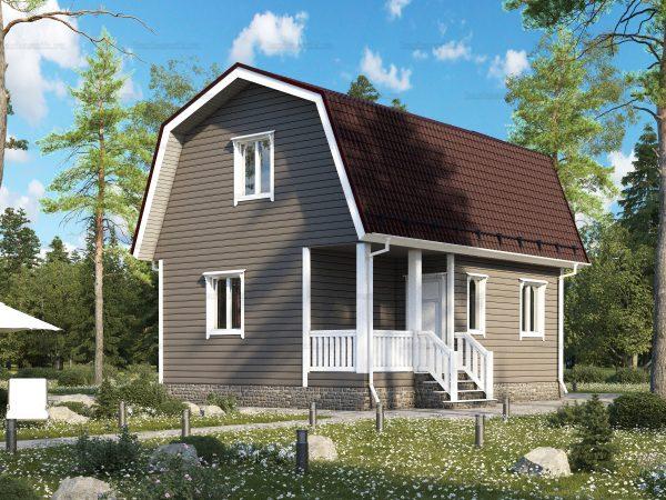 Недорогой дом с мансардой 8х6