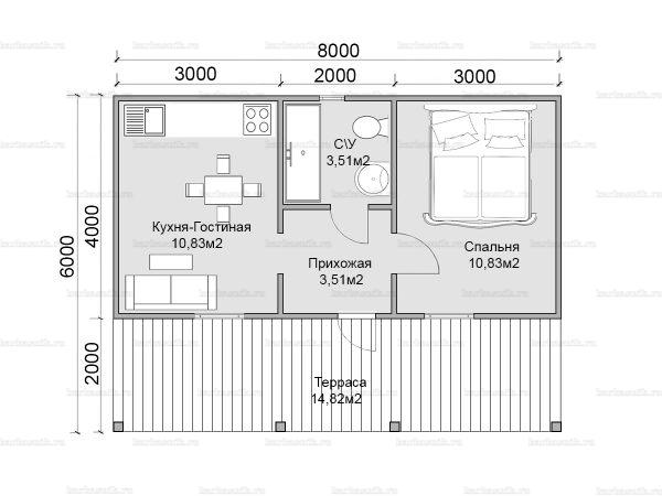 Планировка одноэтажного дома 8х6