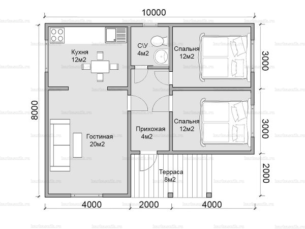 Планировка одноэтажного дома 10х8