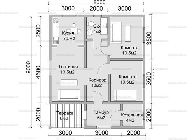 Планировка одноэтажного дома 9х8
