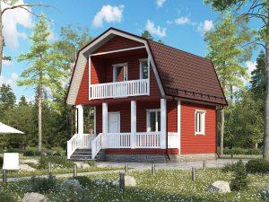 Дачный дом с балконом 6х6