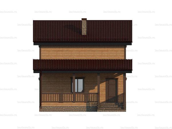 Проект деревянного коттеджа 9х7.5 из бруса для постоянного проживания зимой