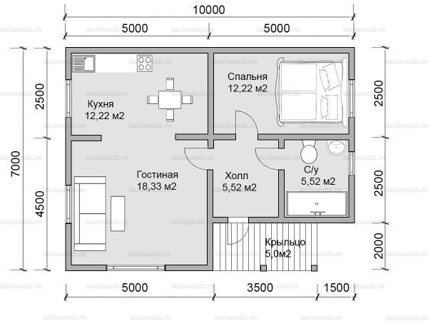 Планировка одноэтажного дома 10х7