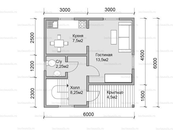 Планировка двухэтажного дома 6х6