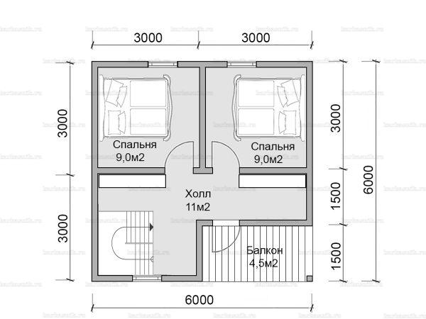 План второго этажа двухэтажного дома 6х6