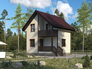 Недорогой дом с балконом 6х6