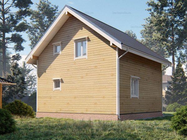 Проект деревянного коттеджа 7.5х7.5 из бруса для постоянного проживания зимой
