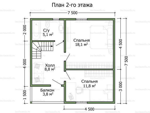 План второго этажа двухэтажного дома 7.5х7.5
