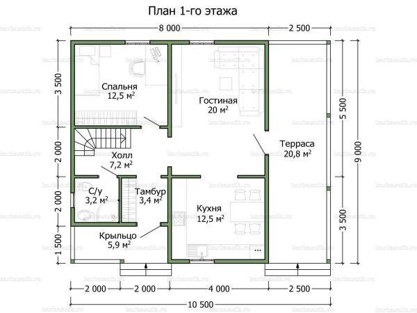 Планировка двухэтажного дома 9х8
