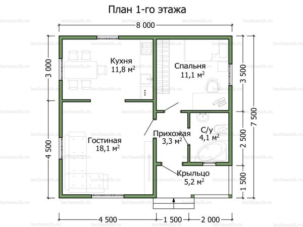 Планировка одноэтажного дома 8х7.5