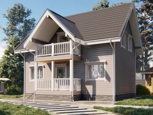 Зимний дом с двухскатной кровлей 9 на 6