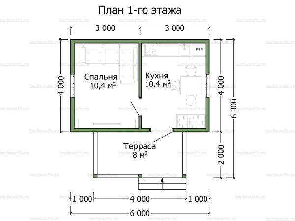 Планировка одноэтажного дома 6х4