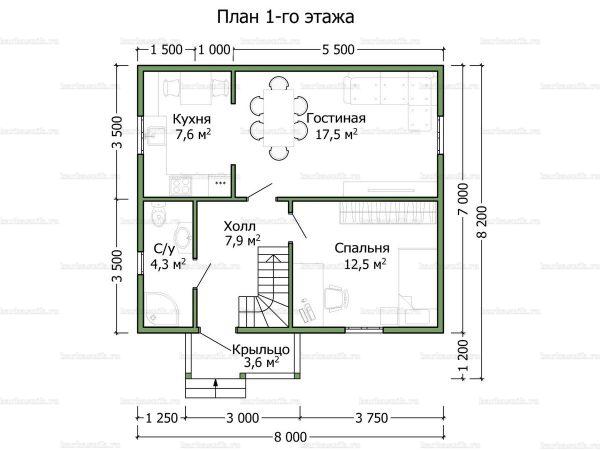 Планировка дома с мансардой 8х7
